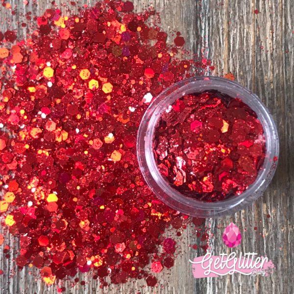 Rode Glitters Gezicht