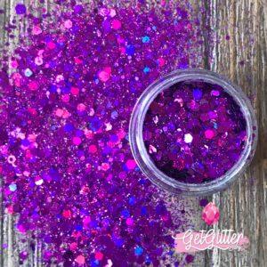 Paarse Glitters Gezicht