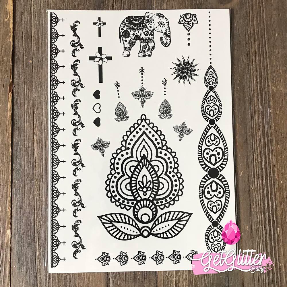 Bh1704 1 Piece Black Henna Cuff Tattoo With Flower Wrist: De Mooiste Tijdelijke Tattoos