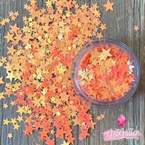 Glitter Sterretjes Oranje